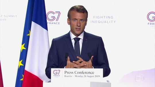 Macron diz que G7 dará US$ 20 milhões para combater queimadas, mas Bolsonaro questiona interesse da França