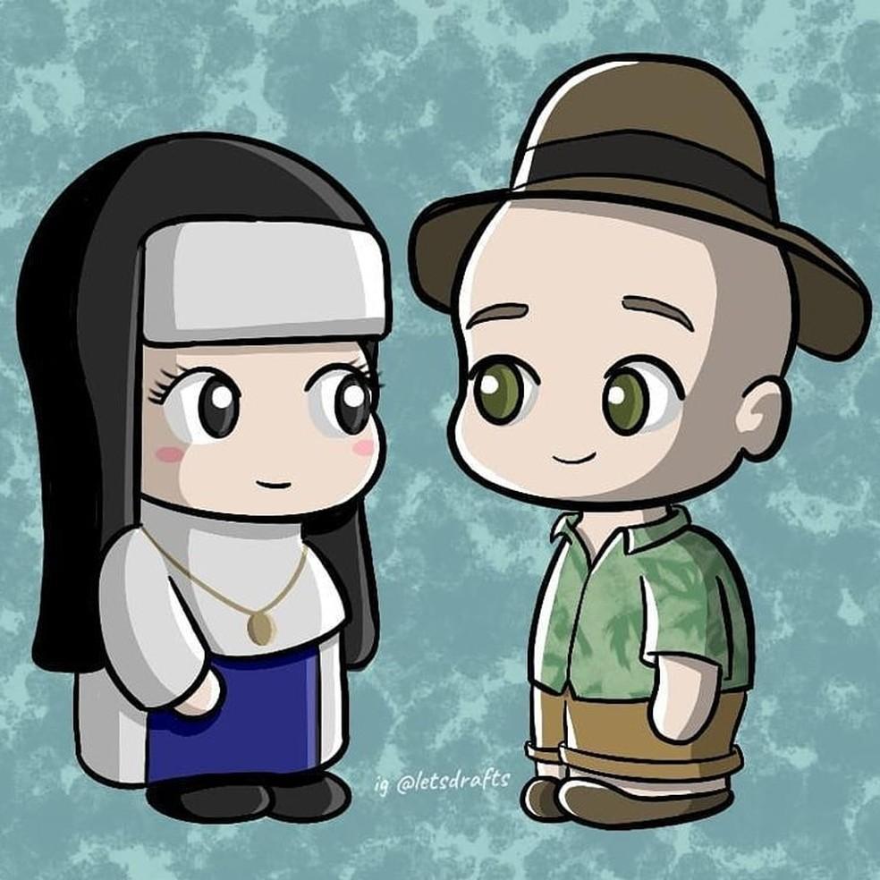 Desenho de Paulo Gustavo e Santa Dulce dos Pobres — Foto: Reprodução/Redes sociais