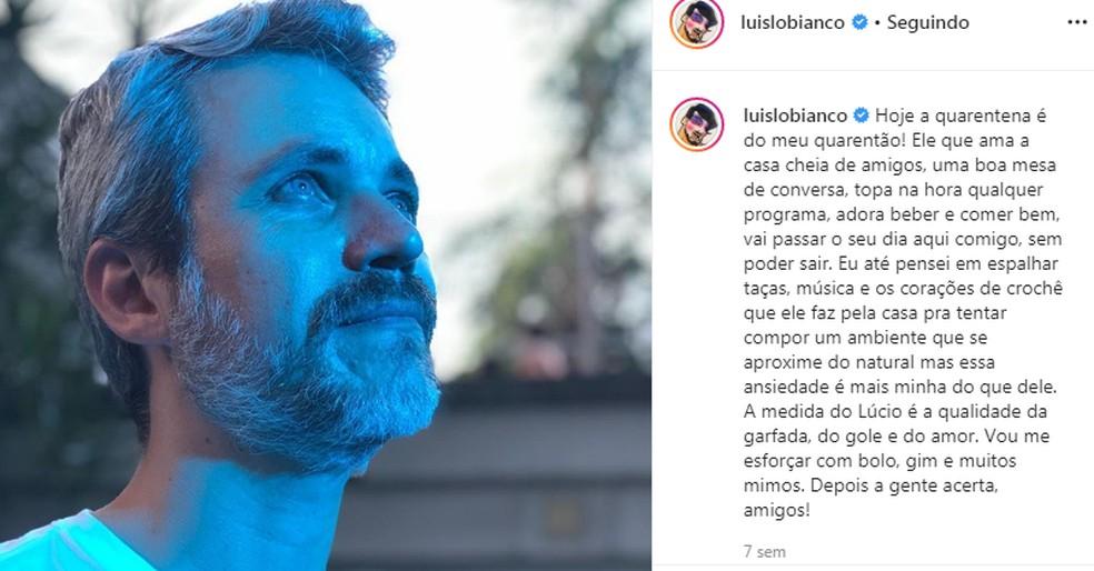 Luis Lobianco se declara ao marido, Lúcio Zandonadi, nas redes sociais — Foto: Reprodução/Instagram