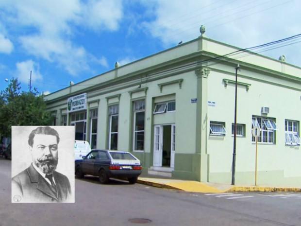 Prédio ocupa lugar de antigo hotel onde o cientista ficou hospedado e fez experiências em São Simão (Foto: Reprodução/ETPV)