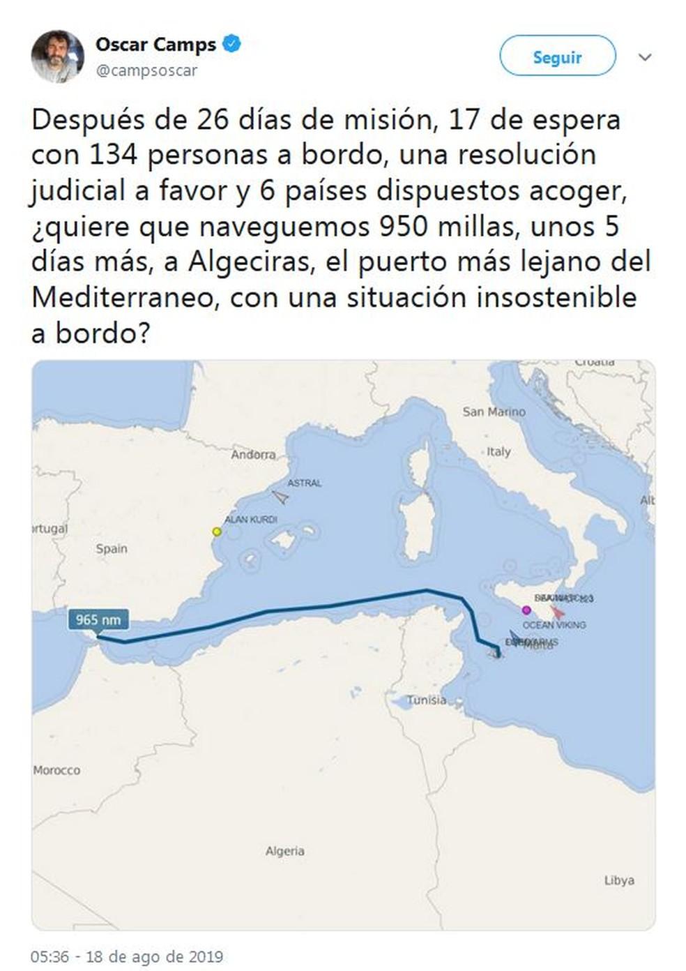 Óscar Camps, fundados da ONG Proactiva Open Arms, diz que porto oferecido pela Espanha para desembarque dos migrantes é o mais distante do Mediterrâneo — Foto: Reprodução/Twitter