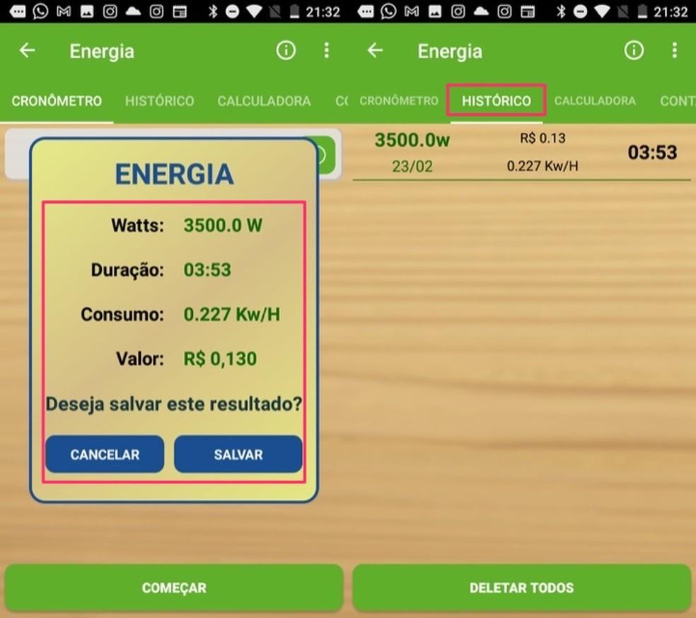 É possível salvar o resultado do consumo de energia no cronômetro do app Sustentabilizando — Foto: Reprodução/Marvin Costa