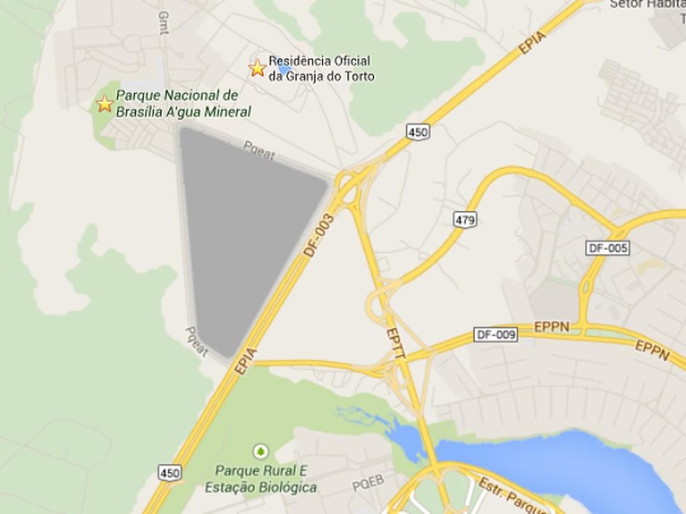 Área reservada para instalação do Parque Digital do DF, próxima à Granja do Torto (Foto: Google Maps/Reprodução)