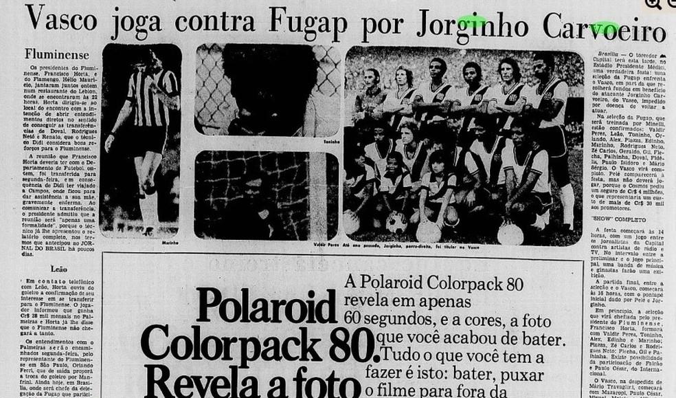 Jornal do Brasil anuncia amistoso entre Vasco e Fugap para ajudar Jorginho (Foto: Reprodução)