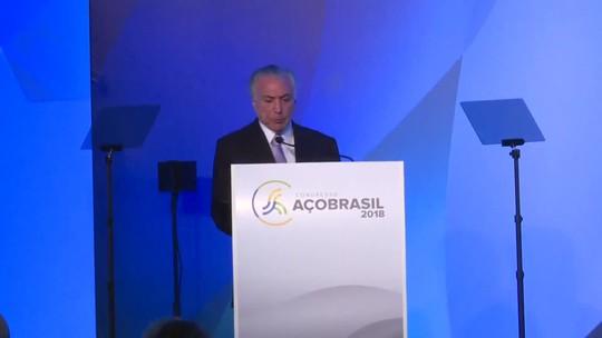 Temer critica protecionismo externo contra indústria do aço brasileira