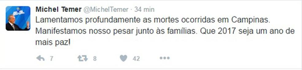 Michel Temer se manifestou em rede social sobre a chacina no interior de São Paulo (Foto: Reprodução / Twitter)