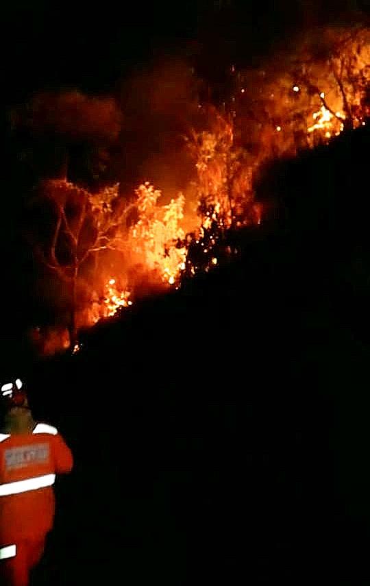 Incêndio atinge vegetação na Serra de São Domingos em Poços de Caldas, MG