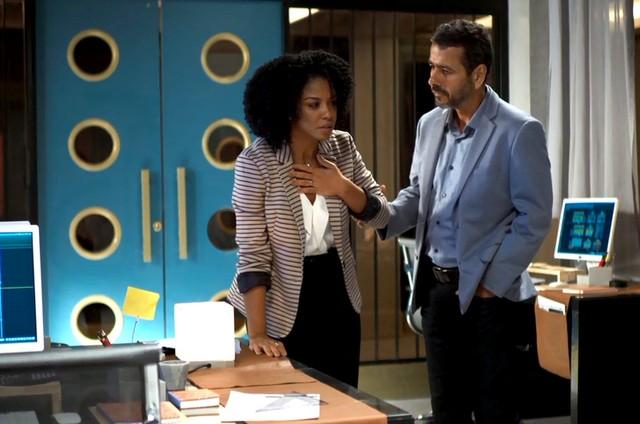 'A dona do pedaço': Gilda (Heloísa Jorge) e Amadeu (Marcos Palmeira) (Foto: TV Globo )