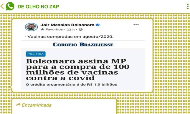 Print de publicação no perfil oficial de Bolsonaro circulou em diversos grupos do WhatsApp e Telegram; apoiadores defendem condução da pandemia pelo governo federal