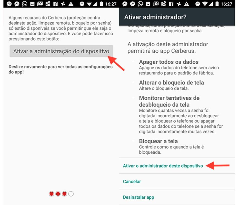 Opção para ativar o modo de administrador de dispositivo no app Cerberus (Foto: Reprodução/Marvin Costa)