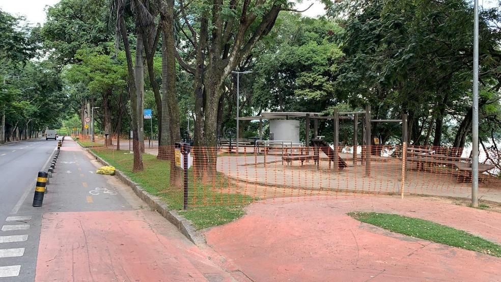 Prefeitura fecha pontos da orla da Lagoa da Pampulha — Foto: Herbert Cabral/ TV Globo