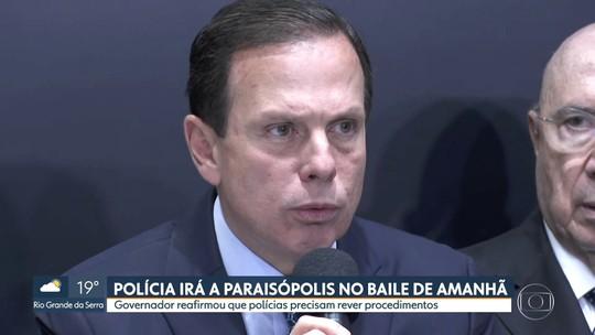 PM vai acompanhar baile em Paraisópolis neste sábado, diz Doria
