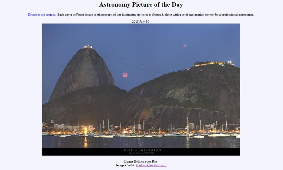 Nasa destaca foto de eclipse lunar feita por fotógrafo brasileiro (Foto: Nasa)