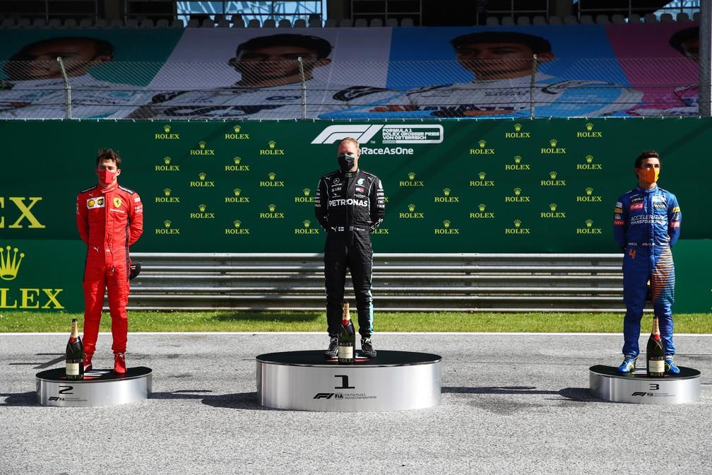 Leclerc, Bottas e Norris no pódio do GP da Áustria de 2020 — Foto: Getty Images