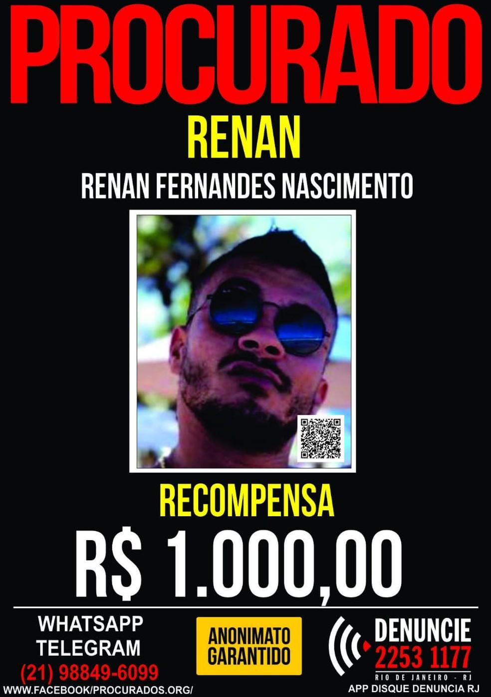 Disque Denúncia oferece recompensa por ifnormações que levem ao acusado (Foto: Divulgação)