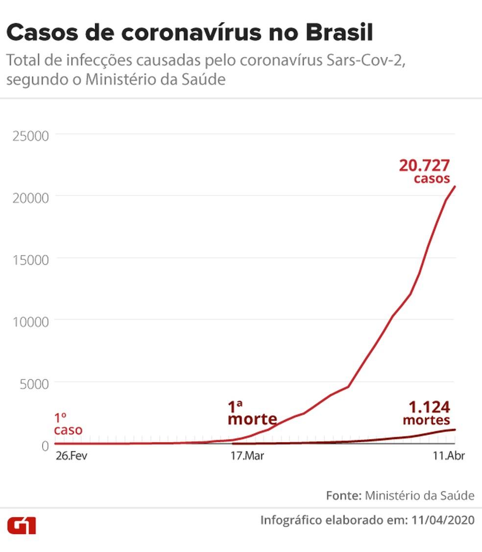 Evolução das mortes por coronavírus no Brasil desde 17 de março — Foto: Guilherme Pinheiro/ G1
