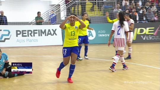 Os gols de Brasil 7 x 1 Paraguai pelo Grand Prix de futsal feminino