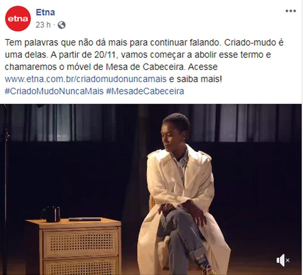 """Etna diz que irá abolir o nome """"criado-mudo"""" de todas as suas lojas, virtual e físicas. — Foto: Reprodução/Facebook"""