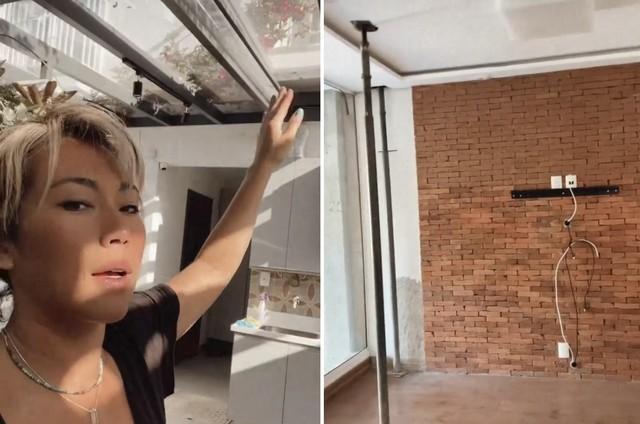 Dani Suzuki mostra teto transparente na lavanderia e parede com tijolinhos aparentes na sala (Foto: Reprodução)