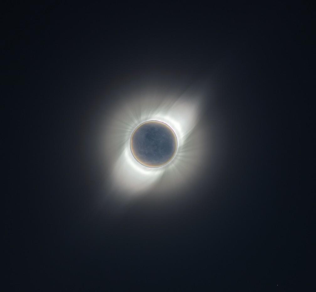 Coroa solar registrada durante eclipse de 2019.  — Foto: Arquivo pessoal/Marcelo Domingues