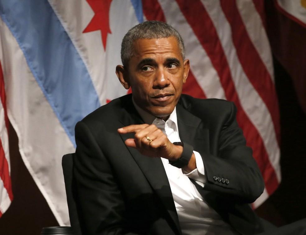 -  Obama no primeiro evento público após deixar a presidência  Foto: Charles Rex Arbogast / AP Photo