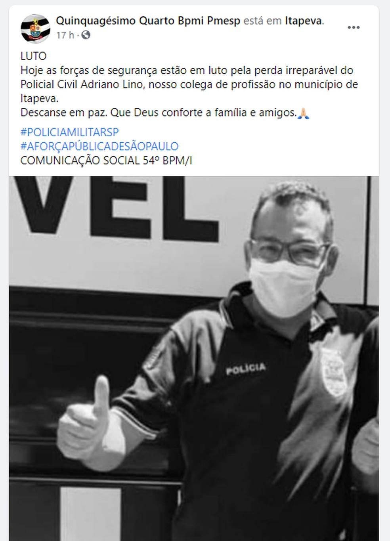 Polícia Militar publicou homenagem para policial de Itapeva nas redes sociais — Foto: Facebook/Reprodução