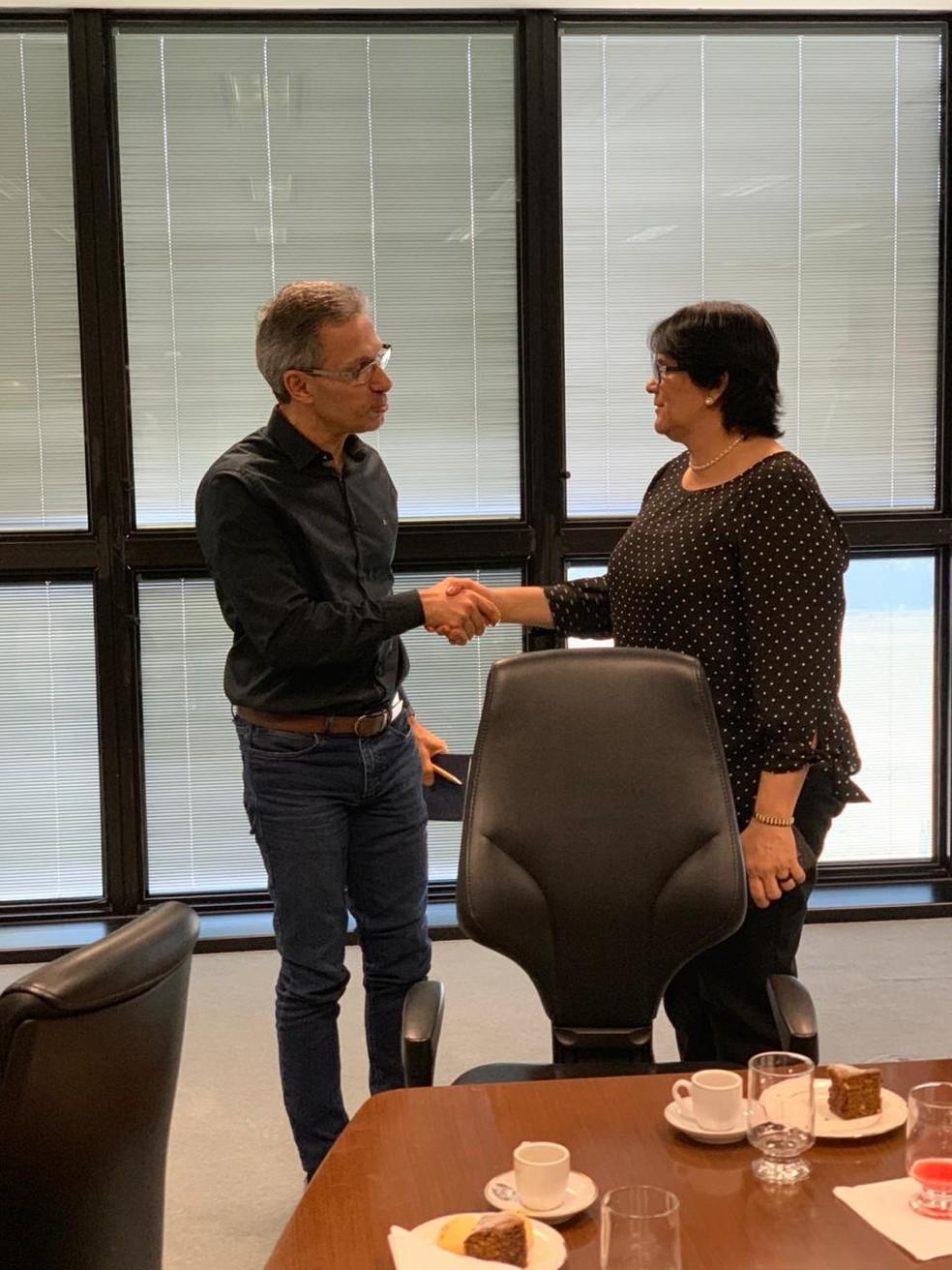 Ministra Damares Alves se reuniu, pela manhã, com o governador Romeu Zema — Foto: Divulgação / Governo de Minas