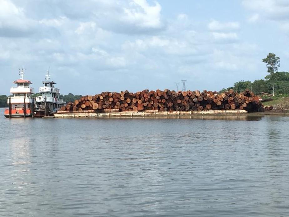balsa - Operação apreende balsas e rebocadores usados no transporte ilegal de 1000 m³ de madeira, no PA
