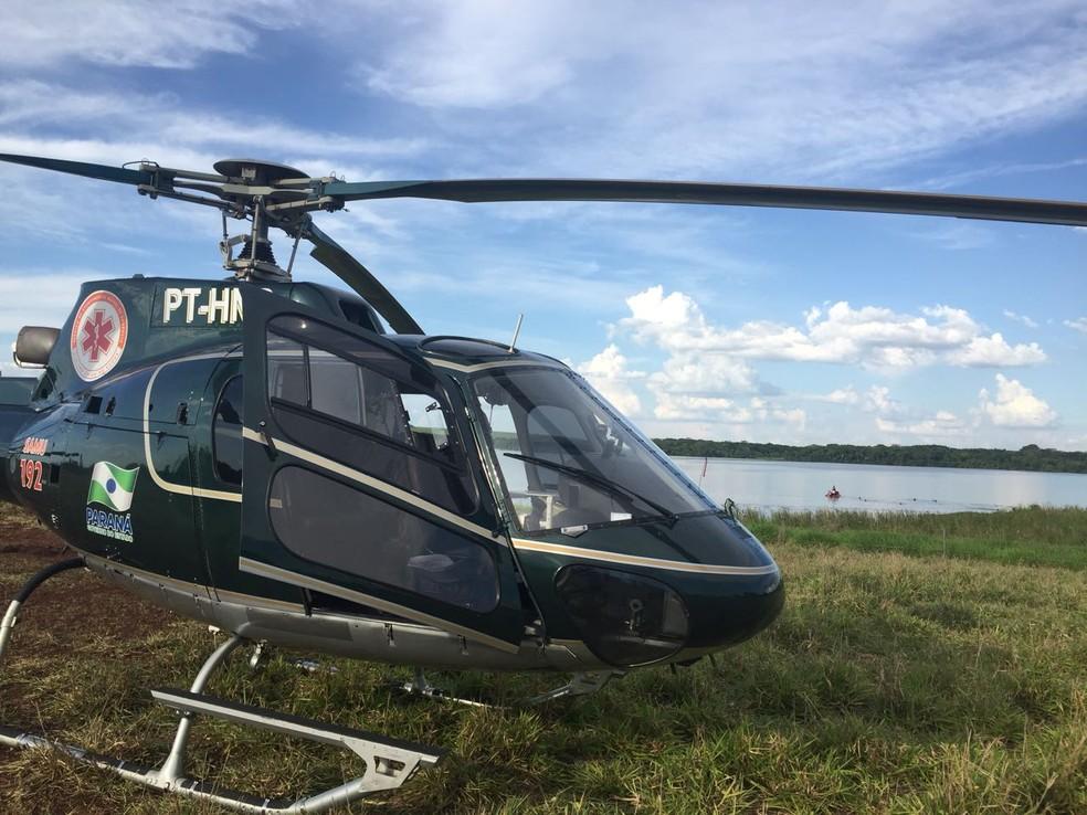 Helicóptero do Serviço de Atendimento Médico de Urgência (Samu) ajuda no trabalho de busca (Foto: Divulgação)