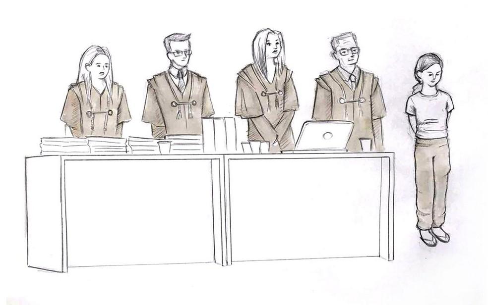 Ilustração mostra Elize Matsunaga ao lado de seus advogados ouvindo a sentença que a condenou a quase 20 anos de prisão (Foto: Roberta Jawoski/Editoria de Arte/G1)