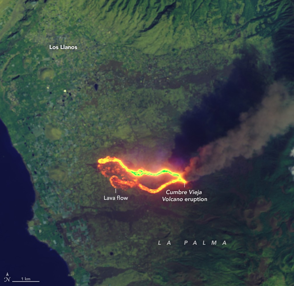 Mais perto: Imagem mostra o rastro da lava em La Palma em 26 de setembro — Foto: Landsat 8/Earth Observatory/Nasa