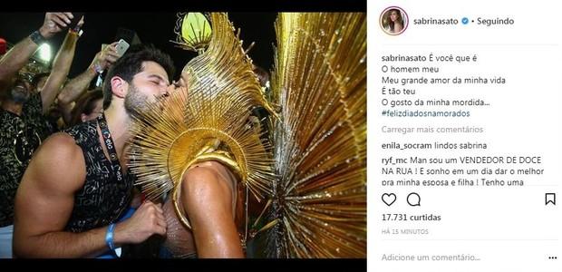 Sabrina se declara para Duda (Foto: Reprodução/Instagram)