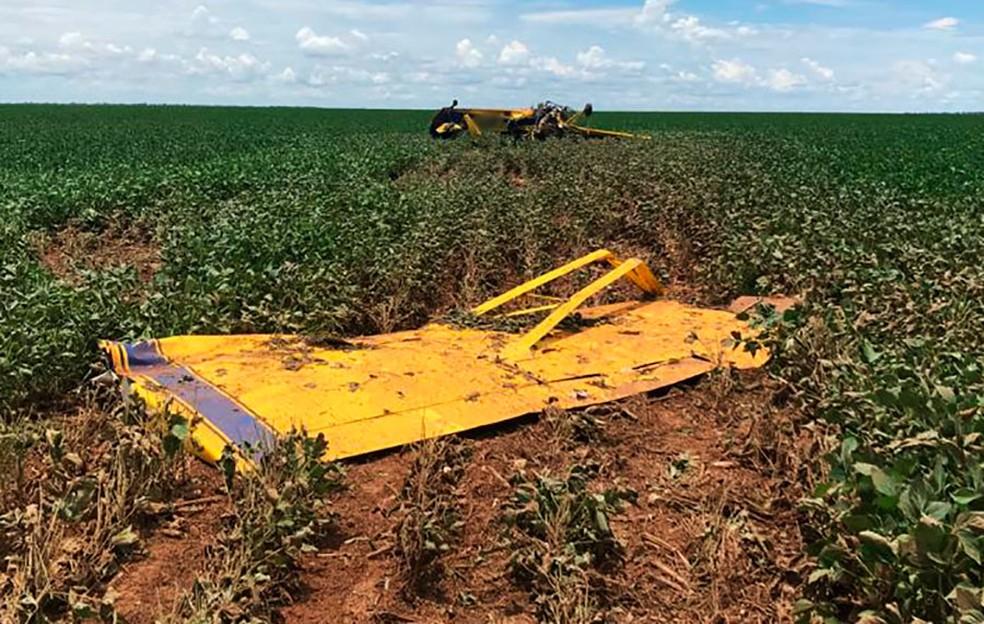 Avião agrícola cai em plantação de soja e Seripa é acionado para investigar acidente em MT — Foto: Divulgação