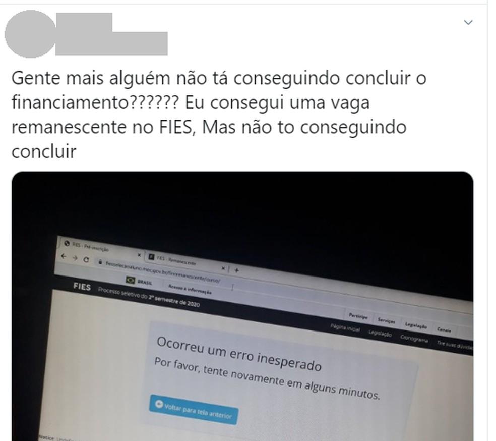 Erro em site do Fies levou MEC a suspender edital e interromper inscrições. — Foto: Reprodução/Twitter