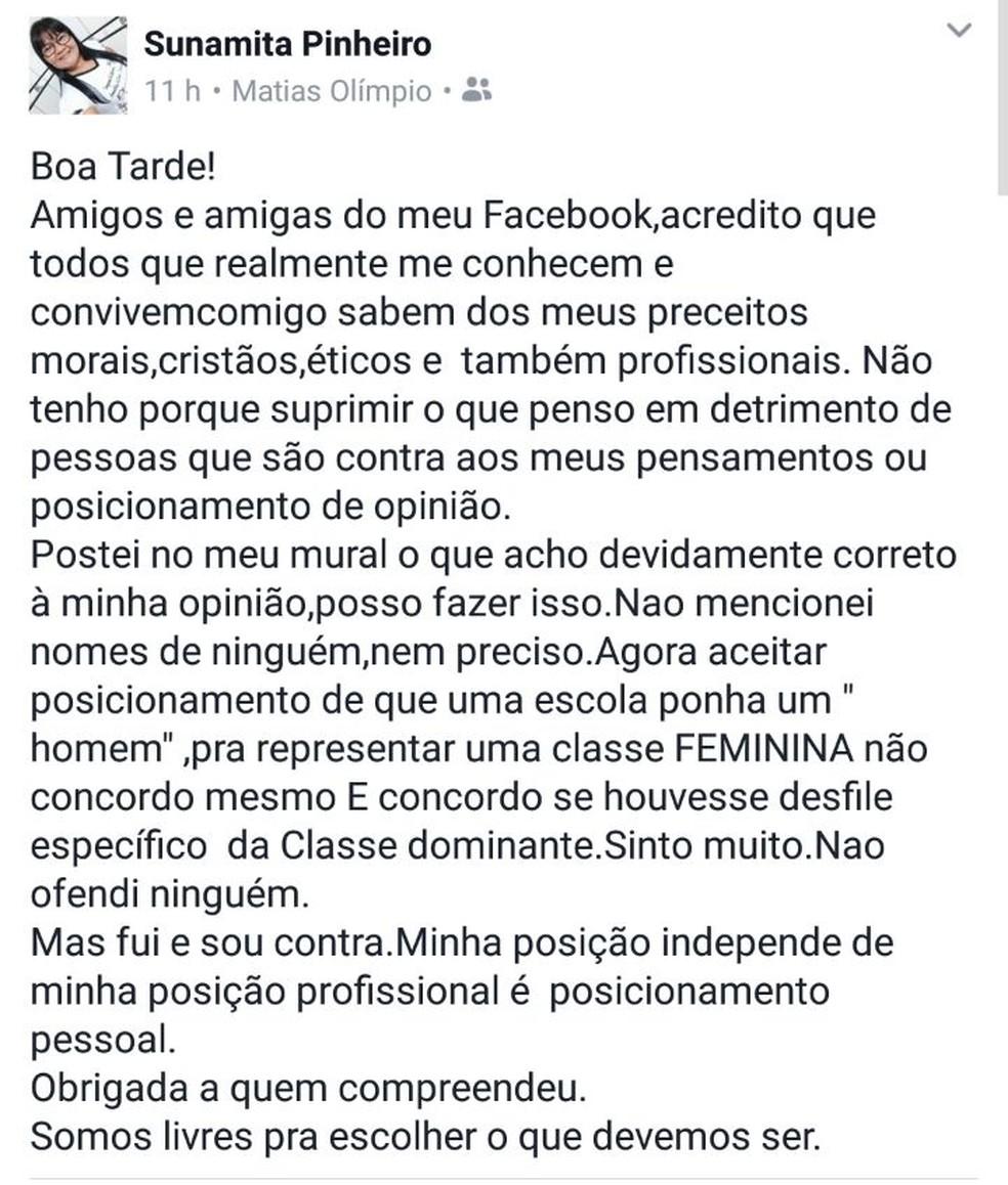 Em novo post, secretária tenta explicar publicação inicial (Foto: Divulgação/Facebook)