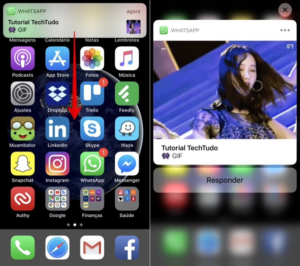 Visualizando GIF ou foto recebida no WhatsApp pela notificação (Foto: Reprodução/Helito Bijora)