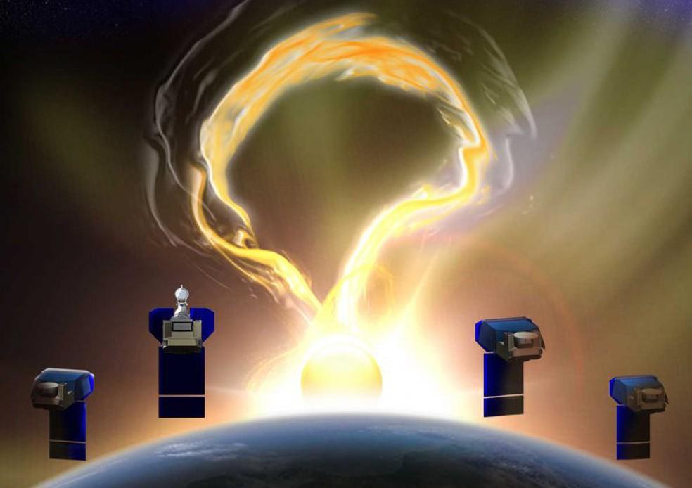 Ilustração da missão solar da Nasa — Foto: Nasa