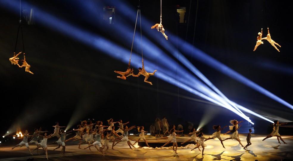 Cirque du Soleil comanda espetáculo na abertura do Pan-Americano de 2015 em Toronto, no Canadá — Foto: EFE/Javier Etxezarreta