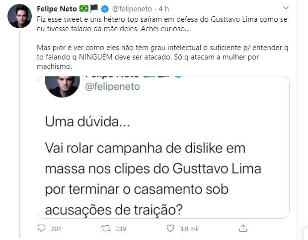 Felipe Neto é criticado por comparar separação de Gusttavo Lima e Andressa Suita com Luísa Sonza e Whindersson Nunes (Foto: Reprodução/Twitter)