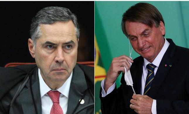 O presidente do Tribunal Superior Eleitoral (TSE), Luís Roberto Barroso (à esq.), desafiou Jair Bolsonaro a apresentar evidências de fraudes na urna eletrônica na disputa de 2018