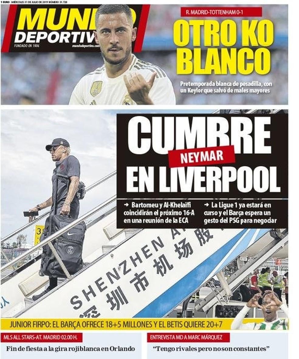 """""""Mundo Deportivo"""" fala em reunião em Liverpool no próximo dia 16 de agosto — Foto: Reprodução/Mundo Deportivo"""