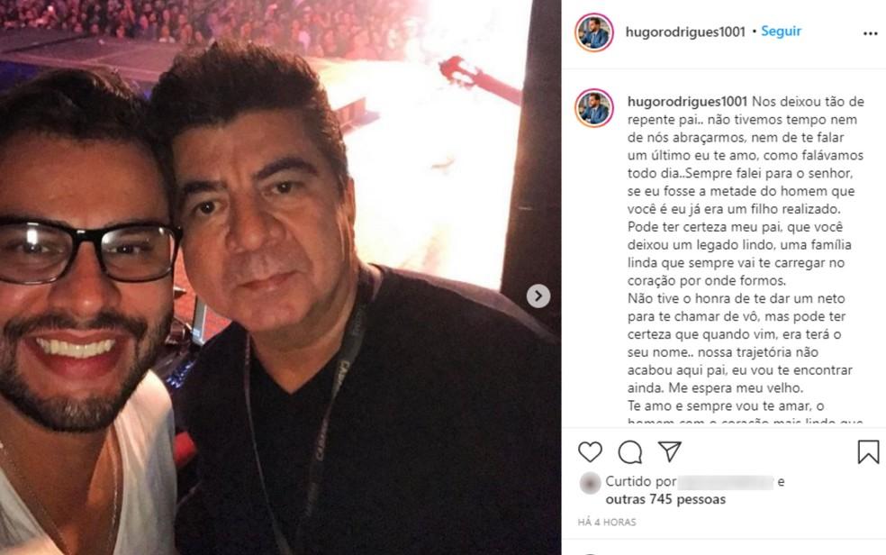 Hugo Rodriges e o pai, Passim, que morreu com tiro de arma de fogo em fazenda do cantor Leonardo — Foto: Reprodução/Instagram