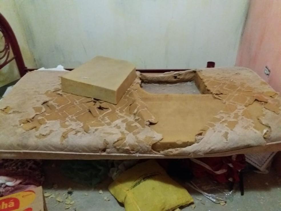 Drogas foram encontradas dentro de colchão em comunidade na zona rural de Isaias Coelho, no Piauí — Foto: Divulgação/ PM