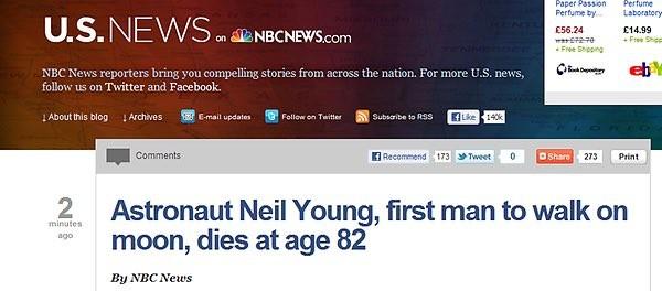 Homenagem a Neil Young, que seria endereçada a Neil Armstrong (Foto: reprodução)