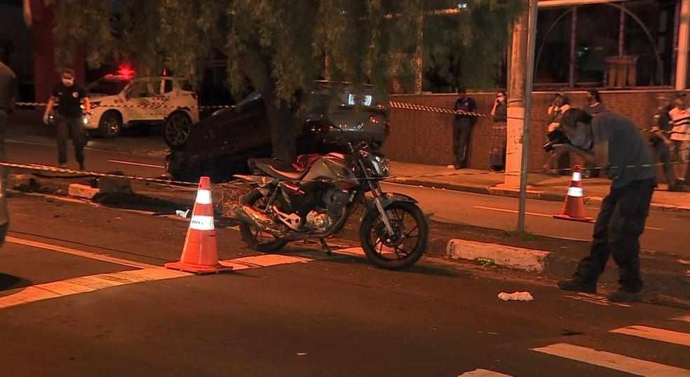 Confusão entre motoboys e motorista terminou com ferido grave em Campinas — Foto: Reprodução/EPTV