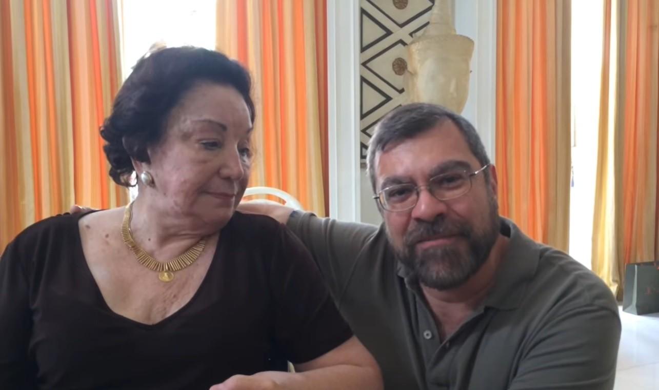 Lolita Rodrigues e Marcello Camargo, filho de Hebe, durante encontro em 2017 (Foto: Reprodução)