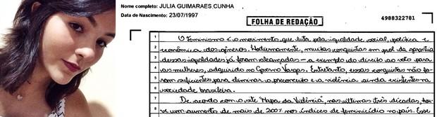Trecho da redação da estudante Julia Guimarães Cunha (Foto: Arquivo pessoal/ Reprodução )