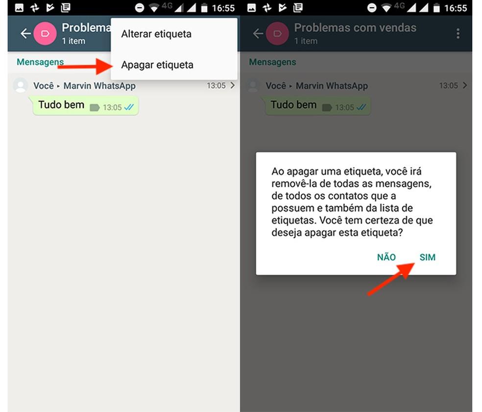 Opção para apagar etiquetas no WhatsApp Business