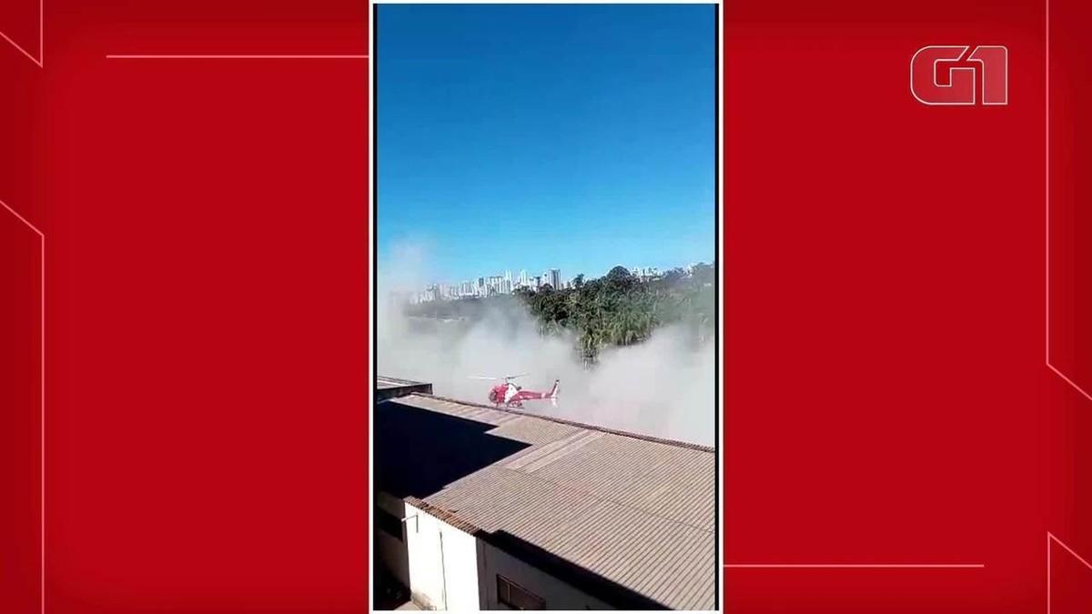 Antes de cair, helicóptero do Corpo de Bombeiros do DF bateu em prédio; veja imagens – G1
