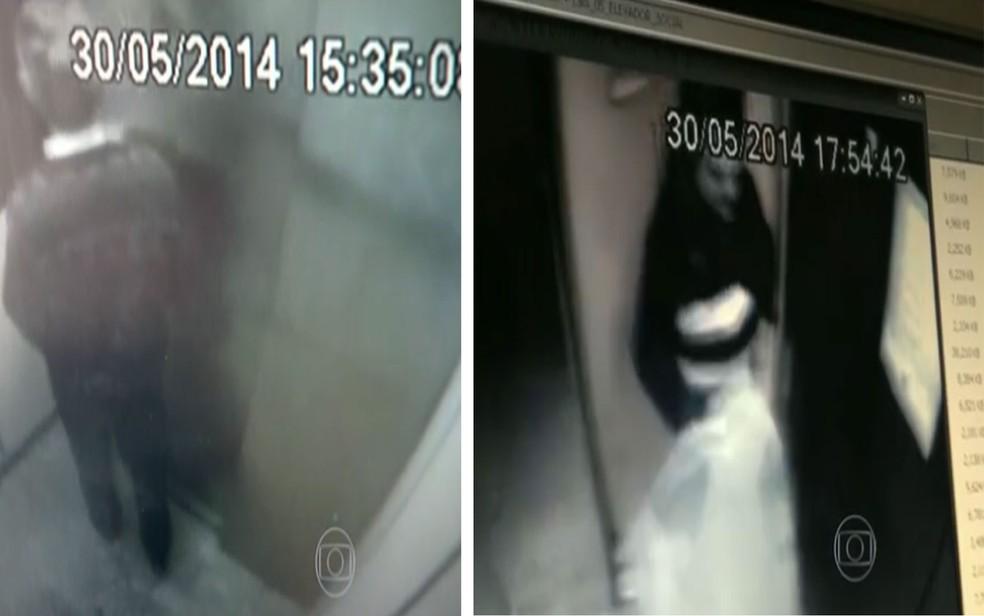 Câmeras do prédio gravaram último momento em vida do zelador saindo do elevador; na outra imagem, foi captado o momento que publicitário Eduardo Martins deixa imóvel levando mala onde estava corpo de Jezi Souza (Foto: Reprodução/TV Globo)